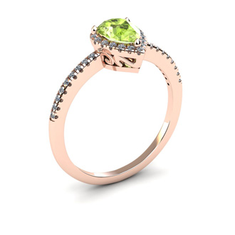 1 Carat Pear Shape Peridot and Halo Diamond Ring In 14 Karat Rose Gold