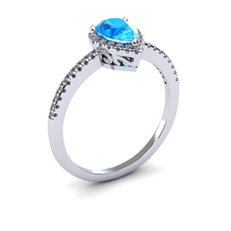 1 Carat Pear Shape Blue Topaz and Halo Diamond Ring In 14 Karat White Gold