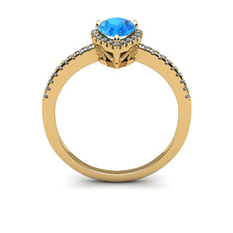 1 Carat Pear Shape Blue Topaz and Halo Diamond Ring In 14 Karat Yellow Gold