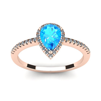 1 Carat Pear Shape Blue Topaz and Halo Diamond Ring In 14 Karat Rose Gold