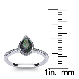 1 Carat Pear Shape Mystic Topaz and Halo Diamond Ring In 14 Karat White Gold
