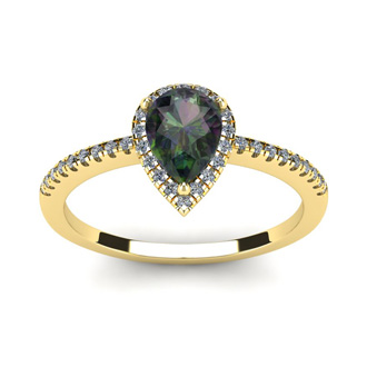 1 Carat Pear Shape Mystic Topaz and Halo Diamond Ring In 14 Karat Yellow Gold