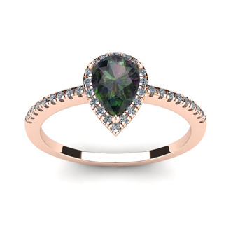 1 Carat Pear Shape Mystic Topaz and Halo Diamond Ring In 14 Karat Rose Gold