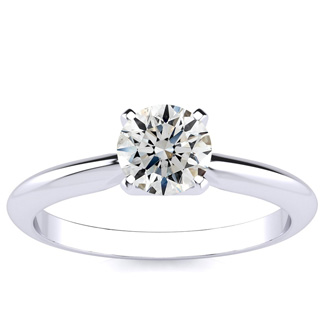3/4ct Round Shaped Diamond Solitaire, Platinum H/I and SI2 clarity.