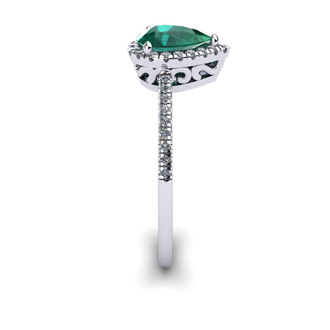 3/4 Carat Pear Shape Emerald and Halo Diamond Ring In 14 Karat White Gold