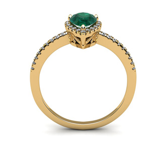 3/4 Carat Pear Shape Emerald and Halo Diamond Ring In 14 Karat Yellow Gold