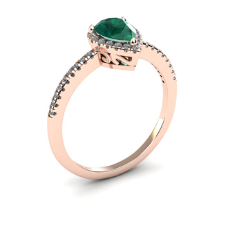 3/4 Carat Pear Shape Emerald and Halo Diamond Ring In 14 Karat Rose Gold