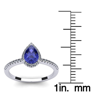 1 Carat Pear Shape Tanzanite and Halo Diamond Ring In 14 Karat White Gold