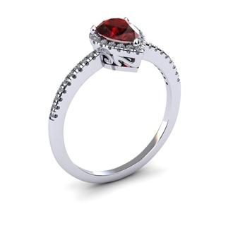 1 Carat Pear Shape Garnet and Halo Diamond Ring In 14 Karat White Gold