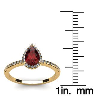 1 Carat Pear Shape Garnet and Halo Diamond Ring In 14 Karat Yellow Gold