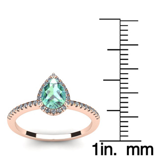 3/4 Carat Pear Shape Green Amethyst and Halo Diamond Ring In 14 Karat Rose Gold