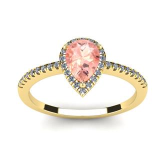 3/4 Carat Pear Shape Morganite and Halo Diamond Ring In 14 Karat Yellow Gold