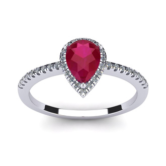 1 Carat Pear Shape Ruby and Halo Diamond Ring In 14 Karat White Gold