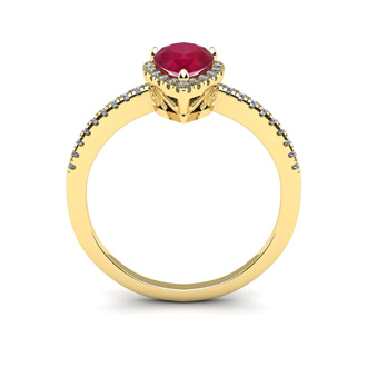 1 Carat Pear Shape Ruby and Halo Diamond Ring In 14 Karat Yellow Gold