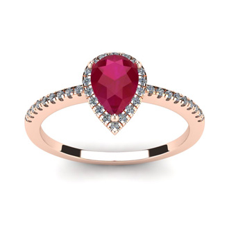 1 Carat Pear Shape Ruby and Halo Diamond Ring In 14 Karat Rose Gold