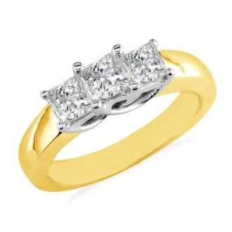 CLOSEOUT 3/4ct Princess Three Diamond Ring, 14K Yellow Gold