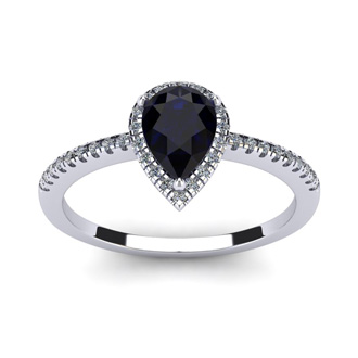 1 Carat Pear Shape Sapphire and Halo Diamond Ring In 14 Karat White Gold