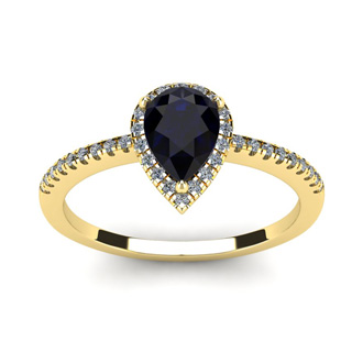 1 Carat Pear Shape Sapphire and Halo Diamond Ring In 14 Karat Yellow Gold