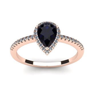 1 Carat Pear Shape Sapphire and Halo Diamond Ring In 14 Karat Rose Gold