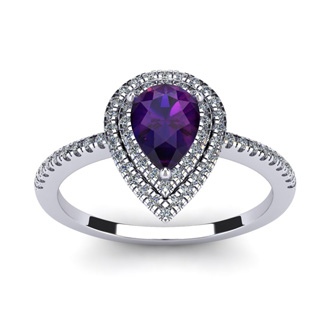 1 Carat Pear Shape Amethyst and Double Halo Diamond Ring In 14 Karat White Gold