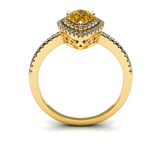 1 Carat Pear Shape Citrine and Double Halo Diamond Ring In 14 Karat Yellow Gold