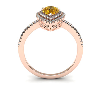 1 Carat Pear Shape Citrine and Double Halo Diamond Ring In 14 Karat Rose Gold