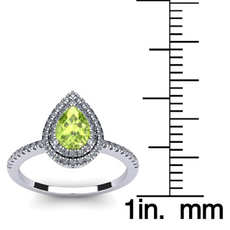 1 Carat Pear Shape Peridot and Double Halo Diamond Ring In 14 Karat White Gold