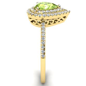 1 Carat Pear Shape Peridot and Double Halo Diamond Ring In 14 Karat Yellow Gold