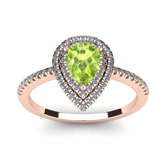 1 Carat Pear Shape Peridot and Double Halo Diamond Ring In 14 Karat Rose Gold