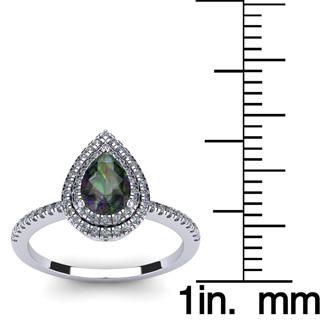 1 1/5 Carat Pear Shape Mystic Topaz and Double Halo Diamond Ring In 14 Karat White Gold