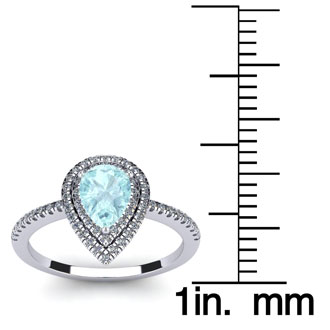 1 Carat Pear Shape Aquamarine and Double Halo Diamond Ring In 14 Karat White Gold