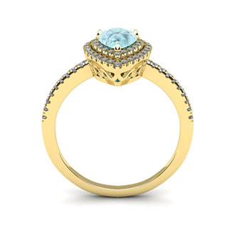 1 Carat Pear Shape Aquamarine and Double Halo Diamond Ring In 14 Karat Yellow Gold
