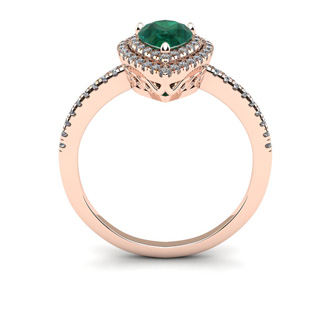 1 Carat Pear Shape Emerald and Double Halo Diamond Ring In 14 Karat Rose Gold