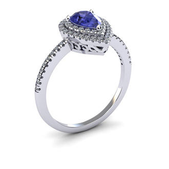 1 Carat Pear Shape Tanzanite and Double Halo Diamond Ring In 14 Karat White Gold