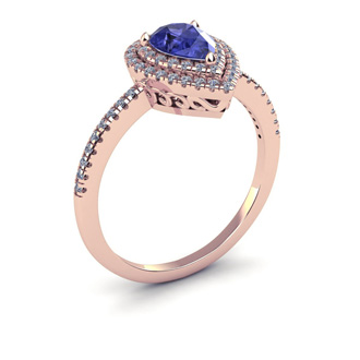 1 Carat Pear Shape Tanzanite and Double Halo Diamond Ring In 14 Karat Rose Gold