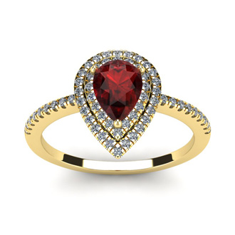1 1/5 Carat Pear Shape Garnet and Double Halo Diamond Ring In 14 Karat Yellow Gold