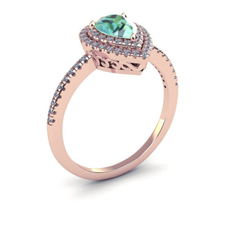1 Carat Pear Shape Green Amethyst and Double Halo Diamond Ring In 14 Karat Rose Gold