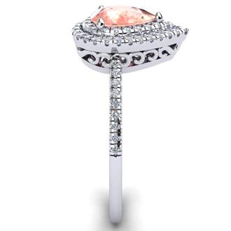 1 Carat Pear Shape Morganite and Double Halo Diamond Ring In 14 Karat White Gold