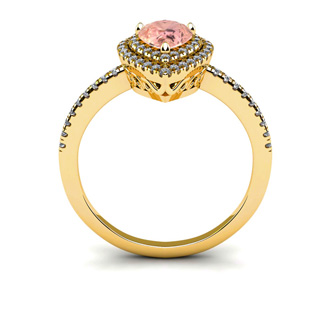 1 Carat Pear Shape Morganite and Double Halo Diamond Ring In 14 Karat Yellow Gold