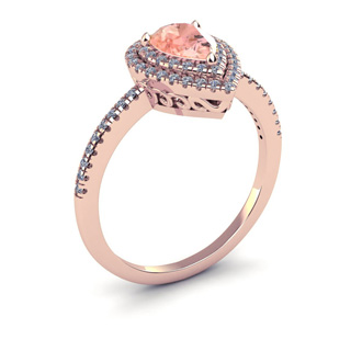 1 Carat Pear Shape Morganite and Double Halo Diamond Ring In 14 Karat Rose Gold