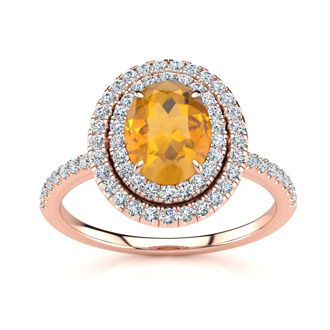 1 1/2 Carat Oval Shape Citrine and Double Halo Diamond Ring In 14 Karat Rose Gold