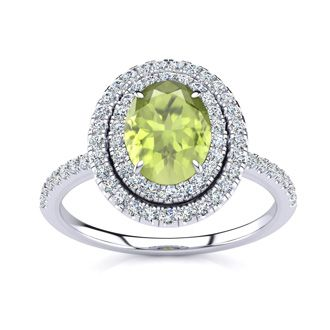 1 3/4 Carat Oval Shape Peridot and Double Halo Diamond Ring In 14 Karat White Gold