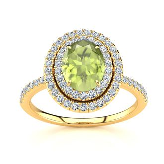1 3/4 Carat Oval Shape Peridot and Double Halo Diamond Ring In 14 Karat Yellow Gold