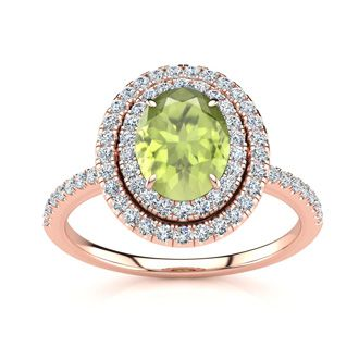 1 3/4 Carat Oval Shape Peridot and Double Halo Diamond Ring In 14 Karat Rose Gold