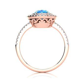 1 3/4 Carat Oval Shape Blue Topaz and Double Halo Diamond Ring In 14 Karat Rose Gold