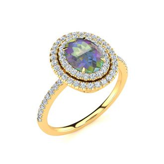 1 3/4 Carat Oval Shape Mystic Topaz and Double Halo Diamond Ring In 14 Karat Yellow Gold