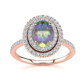 1 3/4 Carat Oval Shape Mystic Topaz and Double Halo Diamond Ring In 14 Karat Rose Gold