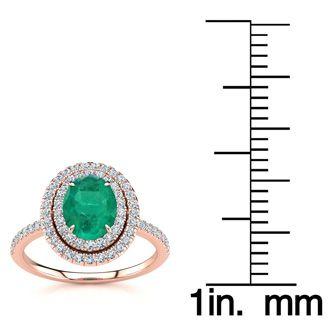 1 1/2 Carat Oval Shape Emerald and Double Halo Diamond Ring In 14 Karat Rose Gold