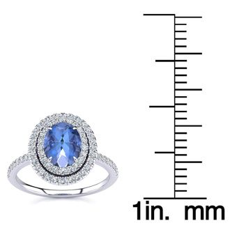 1 1/2 Carat Oval Shape Tanzanite and Double Halo Diamond Ring In 14 Karat White Gold