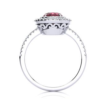 1 3/4 Carat Oval Shape Garnet and Double Halo Diamond Ring In 14 Karat White Gold